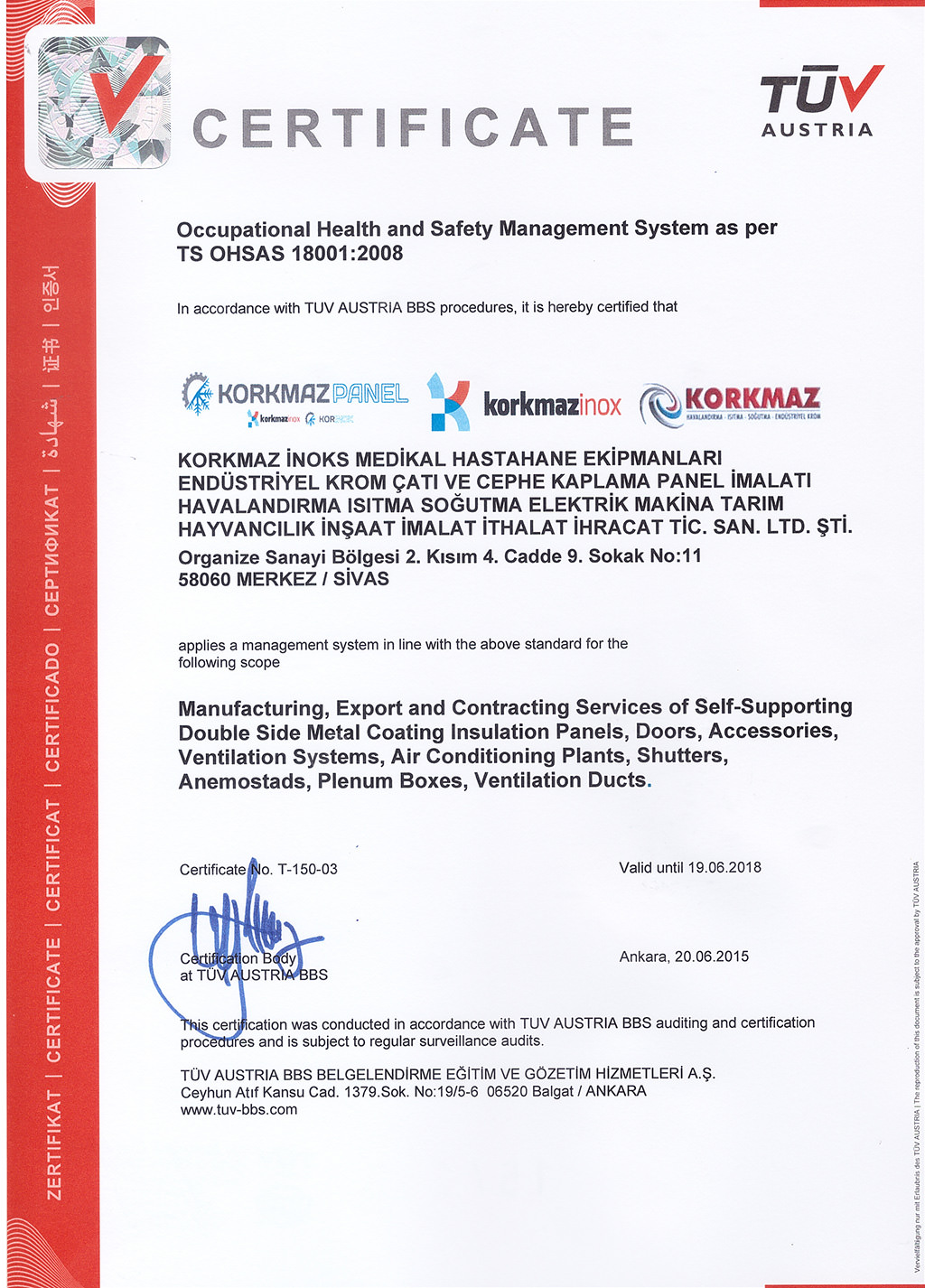 ISO-18001 Certificate